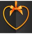 Orange heart shape frame hanging on silky ribbon vector image