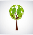 green ecology round tree environment symbol vector image