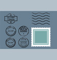 rubber postal stamps vector image
