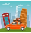 Travel by Car European Adventure with Architecture vector image