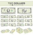 2 dollars banknote cartoon us currency vector image vector image