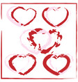 a set of painted hearts vector image
