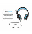 acoustic blue headphones with microphone vector image