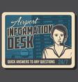 airport flights information desk retro banner vector image