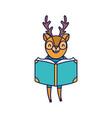 back to school education cute deer reading book vector image vector image