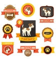 Badges labels ribbons with cute dogs icons and vector image vector image