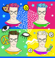 beautiful trendy boys in 80s fashion pop-art vector image