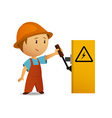 cartoon electrician vector image vector image
