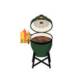 charcoal barbecue grill with grilled sausages vector image