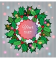 Christmas background with holly berry wreath vector image