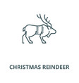 christmas reindeer line icon christmas vector image