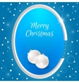 Christmas tag with round white Christmas balls on vector image vector image
