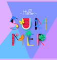 colorful hello summer banner with signs vector image vector image