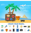 colorful summer travel composition vector image vector image