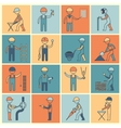 construction worker icons flat line vector image vector image
