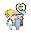 couple children with hairstyle and pijama clothes vector image vector image