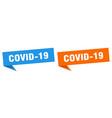 covid-19 banner sign covid-19 speech bubble label vector image vector image