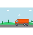 delivery truck with landscape vector image
