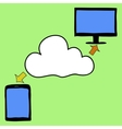 Doodle style tablet pc and cloud vector image