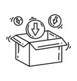 e-commerce packaging hand drawn icon set outline vector image vector image