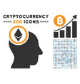 ethereum mind head flat icon with clip art vector image vector image