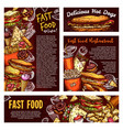 fast food street meals and soda sketch vector image vector image