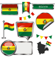 Glossy icons with Bolivian flag vector image vector image