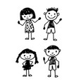 hand draw kid cartoon vector image