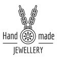 hand made jewellery logo outline style vector image vector image