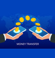 isometric money transfer online money wallet and vector image vector image