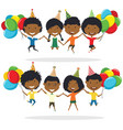 jumping african-american boys and boys carrying vector image vector image
