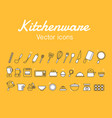 kitchenware icons design set vector image vector image