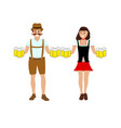 man and women with beer vector image vector image