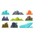 mountain set cartoon rocky hills and creeks vector image