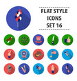 patriot day set icons in flat style big vector image vector image