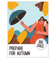 poster prepare for autumn at big sale vector image