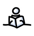 reading stick figure person with book hand drawn vector image vector image