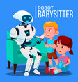 robot babysitter reading a book to child on the vector image vector image