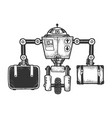 robot luggage carrier sketch engraving vector image vector image