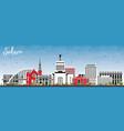 salem oregon city skyline with color buildings vector image vector image
