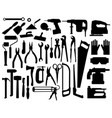 set building tools silhouettes collection vector image