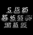 set with anniversary numbers vector image vector image