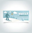 ski man silhoutte winter season banner vector image