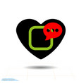 speaker in black heart icon for valentines day vector image