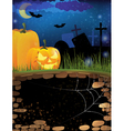 Terrible pumpkins on a night cemetery vector image