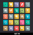 Trendy Icons With Long Shadow Set 19 vector image vector image