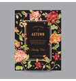 Vintage Floral Frame - Autumn Hortensia Flowers vector image vector image