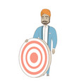 young hindu businessman and dart board vector image vector image