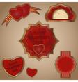 vintage love labels set for valentines day - vector image