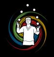 a man juggling balls while cycling graphic vector image